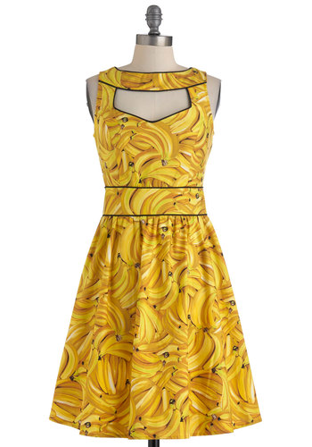 Boldest of the Bunch Dress - Yellow, Black, Novelty Print, Cutout, A-line, Sleeveless, Summer, Casual, Mid-length, Fruits, Cotton, Fit & Flare, Beach/Resort, Press Placement