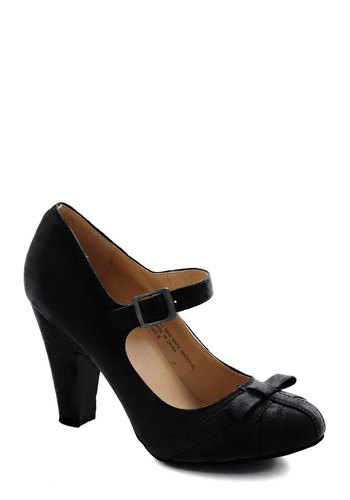 Gift Wrapping Professional Heel in After Party - Black, Solid, Bows, Mid, Mary Jane, Work, Vintage Inspired