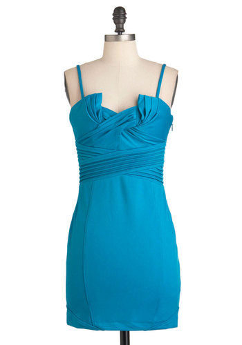 Glide and Go Sleek Dress - Blue, Solid, Pleats, Formal, Wedding, Party, Mini, Spaghetti Straps, Short, Cocktail, Girls Night Out, Bodycon / Bandage, Tis the Season Sale