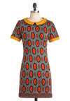 Funhouse of Style Dress - Multi, Orange, Yellow, Grey, Print, Peter Pan Collar, Casual, Sheath / Shift, Short Sleeves, Fall, Short, Mod