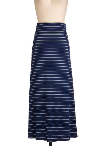 Stripe Right Up Skirt - Blue, White, Maxi, Casual, Nautical, Beach/Resort, Top Rated, Long