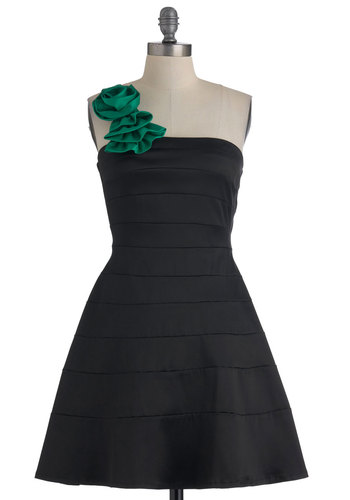 When You Can Dance Dress in Jade - Black, Green, Solid, Flower, Wedding, Party, A-line, One Shoulder, Mid-length, Cocktail, Fit & Flare