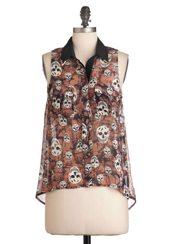 Got Mad Skulls Top - Mid-length, Pink, Black, Buttons, Pockets, Casual, Sleeveless, Statement, Steampunk, Sheer, Button Down, Collared, Summer
