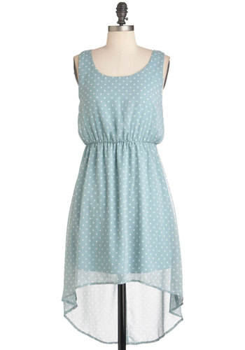 Pitter Powder Blue Dress - Short, Blue, White, Polka Dots, Backless, Party, Sleeveless, Summer, High-Low Hem, Pastel, Sheer, Mint
