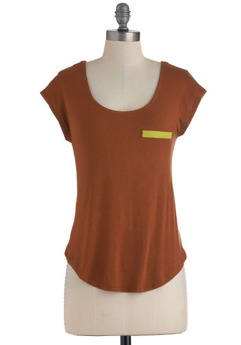 Splash of Lime Top - Brown, Green, Pockets, Casual, Short Sleeves, Colorblocking, Neon, Jersey, Mid-length