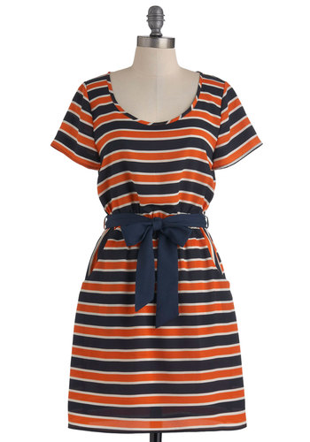 Team Girl Squad Dress - Mid-length, Multi, Orange, Blue, White, Stripes, Pockets, Casual, A-line, Short Sleeves, Belted
