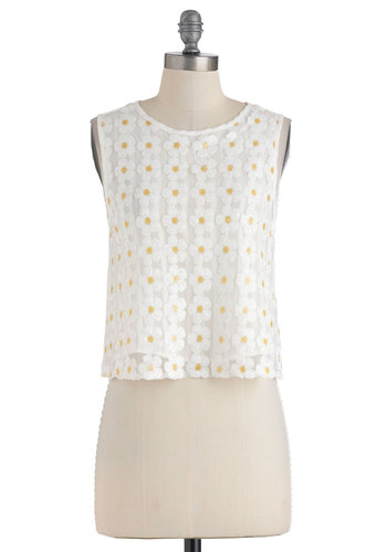 Dreaming of Miss Daisy Top - Short, White, Yellow, Buttons, Sequins, Casual, Sleeveless, Floral, 60s, Summer