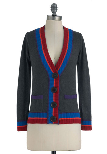 Art Club President Cardigan - Mid-length, Grey, Red, Blue, Purple, Pink, Buttons, Pockets, Long Sleeve, Casual, Menswear Inspired