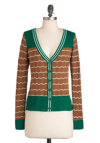 Mint Mocha Latte Cardigan - Mid-length, Tan, Green, White, Buttons, Long Sleeve, Casual, Menswear Inspired, Scholastic/Collegiate, Button Down, V Neck