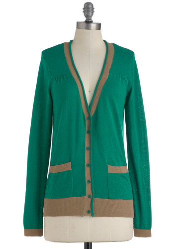 Science Ex-Spearmint Cardigan - Green, Grey, Buttons, Pockets, Casual, Long Sleeve, Colorblocking, Mid-length, Menswear Inspired, Fall