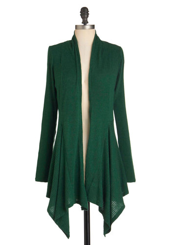 Leaf it for Later Cardigan - Green, Solid, Casual, Long Sleeve, Mid-length, Fall, Green, Long Sleeve