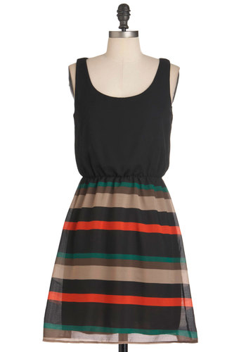 Reverie Day Dress - Black, Stripes, Party, Casual, Mid-length, Tank top (2 thick straps), Orange, Green, Brown, Twofer