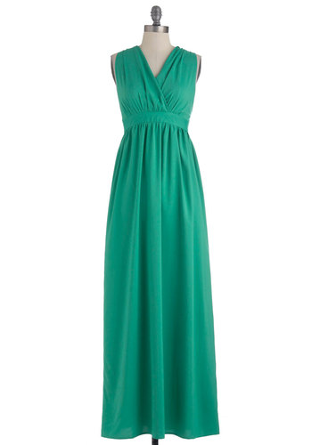 Got It Jade Dress - Long, Green, Solid, Backless, Casual, Maxi, Sleeveless, Summer, Vintage Inspired, Sweetheart, Beach/Resort