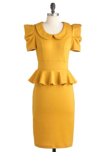 Work with Me Dress in Mustard - Yellow, Solid, Peter Pan Collar, Work, 40s, 80s, Short Sleeves, Long, Peplum, Collared, Ruffles, Vintage Inspired, Variation