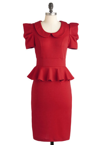 Work with Me Dress in Deep Red - Red, Solid, Peter Pan Collar, Work, 40s, 80s, Short Sleeves, Fall, Peplum, Best Seller, Collared, Ruffles, Vintage Inspired, Long