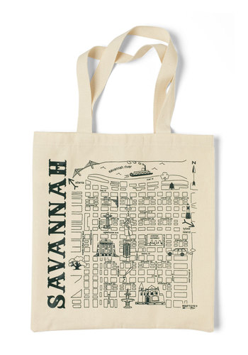 Place to Be Tote in Savannah - Cream, Green, Casual, Travel, Cotton
