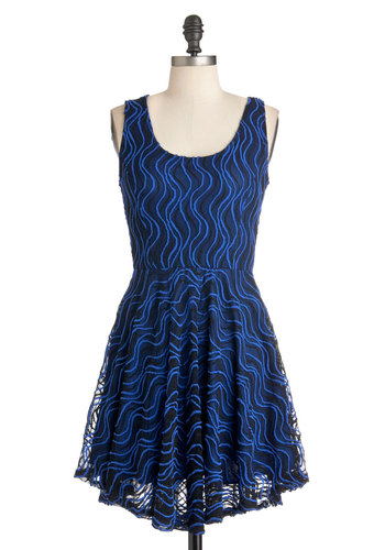 Topo the Charts Dress - Blue, Black, Print, Cutout, Party, A-line, Sleeveless, Short