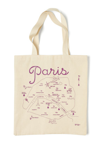Place to Be Tote in Paris - Cream, Purple, Casual, Travel, Cotton