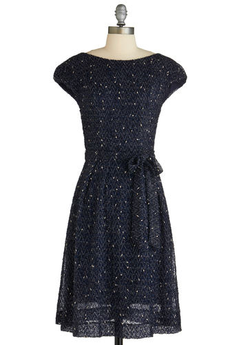Next Stop, Soho Dress by Eva Franco - Mid-length, Blue, Sequins, Party, A-line, Cap Sleeves, Vintage Inspired, Belted, Glitter, Cocktail, Holiday Party, Boat, Fit & Flare