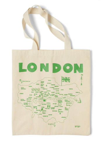 Place to Be Tote in London by Maptote - Cream, Green, Casual, Travel, Cotton