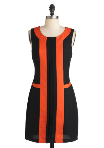 Have We Metro? Dress - Short, Black, Orange, Party, Sheath / Shift, Sleeveless, Colorblocking, Mod