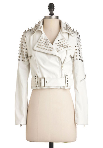 Like a Boss-y Jacket in White - White, Studs, Party, 80s, Statement, Long Sleeve, 2, Faux Leather, Short