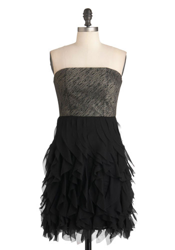 Eternal Elegance Dress - Black, Ruffles, Wedding, Party, Empire, Strapless, Cocktail, Holiday Party, Mid-length