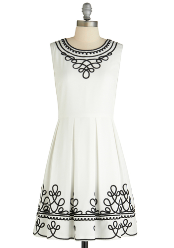 Quartet in the Garden Dress - Mid-length, White, Black, Pleats, Wedding, Party, Sleeveless, Summer, Fit & Flare, Print
