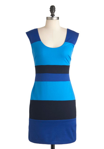 Mediterranean View Dress - Mid-length, Blue, Backless, Party, Mini, Sleeveless, Girls Night Out, Bodycon / Bandage, Stripes, Colorblocking