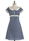 Encircled in Sweetness Dress - Mid-length, White, Print, Buttons, Peter Pan Collar, A-line, Short Sleeves, Spring, 60s, Mod, Cotton, Scholastic/Collegiate, Collared, Casual, Blue, Polka Dots, Work