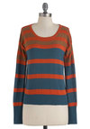 Academic Aplomb Sweater - Orange, Tan / Cream, Stripes, Long Sleeve, Casual, Fall, Mid-length