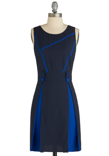 Peek of Pigment Dress - Mid-length, Blue, Solid, Buttons, Pleats, Work, Sheath / Shift, Sleeveless, Tis the Season Sale