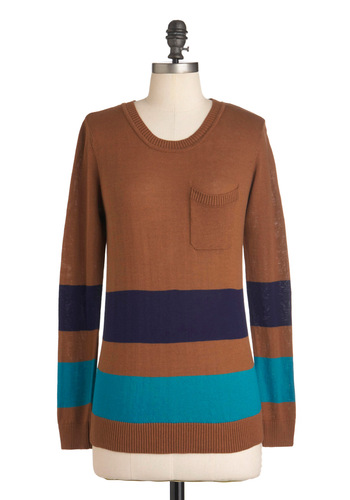 Highly E-Streamed Sweater - Mid-length, Tan, Blue, Purple, Pockets, Long Sleeve, Casual, Holiday Sale, Colorblocking
