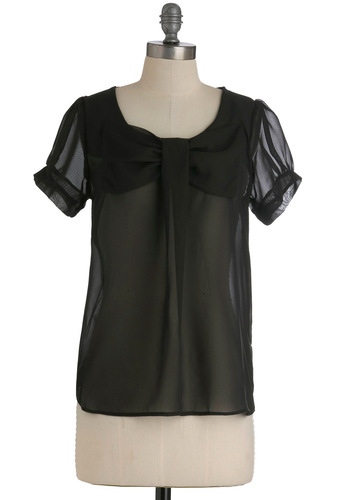 New Flame Top in Black - Mid-length, Black, Solid, Bows, Short Sleeves, Sheer, Variation, Party, Cocktail, Girls Night Out