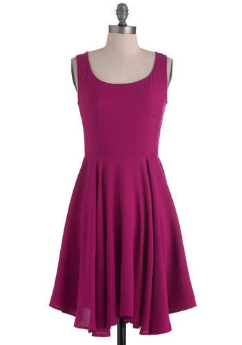 Just About Anywhere Dress in Raspberry - Pink, Solid, Party, Casual, A-line, Tank top (2 thick straps), Long, Cocktail, Fit & Flare