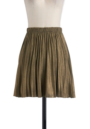Luxe of the Draw Skirt by BB Dakota - Short, Bronze, Solid, A-line, Party