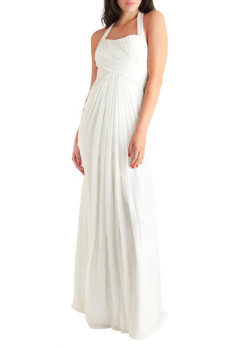 An Air of Romance Dress - White, Solid, Buttons, Wedding, Maxi, Racerback, Summer, Ruching, French / Victorian