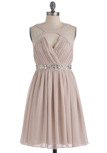 A Shine of Its Own Dress - Mid-length, Pink, Solid, Rhinestones, Wedding, Party, A-line, Sleeveless, Cocktail, Chiffon, Fit & Flare