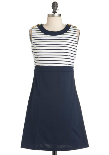 Run the Showboat Dress - Mid-length, Blue, White, Solid, Stripes, Buttons, Casual, Empire, Sleeveless, Summer, Nautical, Cotton, Mod, Tis the Season Sale