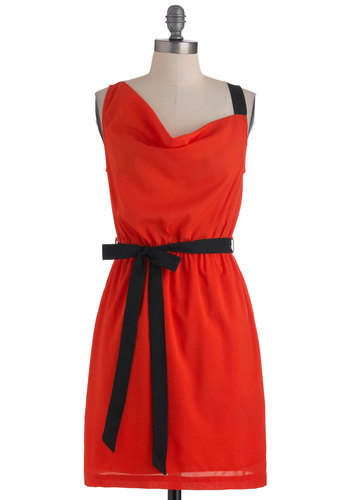 My Cool Tangelo Dress - Mid-length, Orange, Black, Solid, Party, Sleeveless, Belted, Shift, Daytime Party