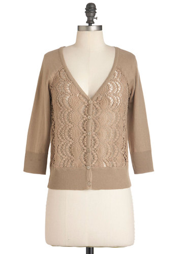 Yes, Darling Cardigan in Dune - Short, Brown, Crochet, Cutout, 3/4 Sleeve, Casual