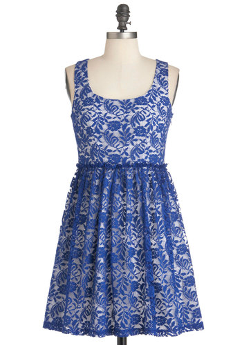 Blue Willow Heirloom Dress - Short, Blue, White, Cutout, Lace, Party, A-line, Sleeveless, Vintage Inspired, French / Victorian, Cocktail, Tis the Season Sale