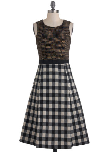 Tracy Reese Sew in Love Dress by Tracy Reese - Long, Multi, Brown, Black, White, Checkered / Gingham, Pockets, Casual, Sleeveless, Fall, Vintage Inspired, 50s, Exposed zipper, A-line, Twofer
