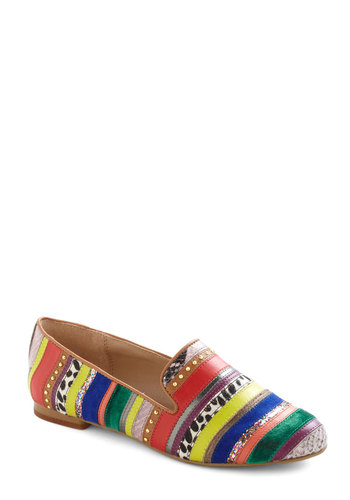 Go the Extra Smile Flat in Stripes by Steve Madden - Multi, Stripes, Animal Print, Studs, Glitter, Flat, Casual, Statement, Leather