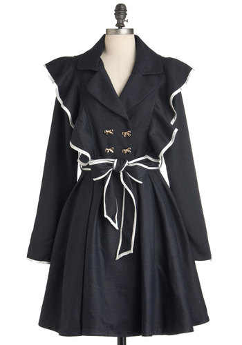 The Rain in Spain Coat - Blue, White, Buttons, Pockets, Trim, Long Sleeve, Belted, Film Noir, Spring, Fall, Long, 2, Steampunk, Double Breasted