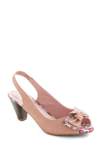 Wish Upon This Heel - Pink, Multi, Floral, Bows, Mid, Peep Toe, Slingback, Party, Vintage Inspired, Spring, Fairytale