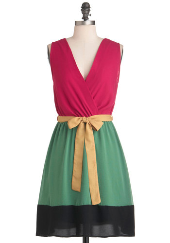 Surprise Balloon Ride Dress - Mid-length, Multi, Yellow, Green, Pink, Black, A-line, Sleeveless, Belted, Casual, Colorblocking, V Neck