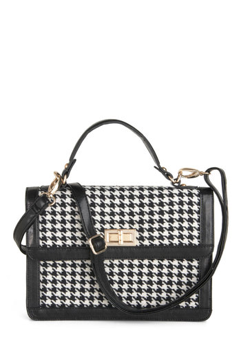 Houndstooth or Dare Bag - Black, White, Houndstooth, Film Noir, Vintage Inspired, Scholastic/Collegiate, Faux Leather, Press Placement