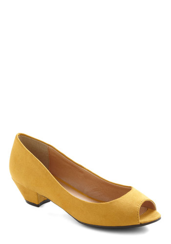 Made Like This Heel - Yellow, Solid, Work, Vintage Inspired, Faux Leather, Platform, Low, Peep Toe