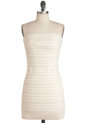 You and Ivory Dress - Cream, Print, Wedding, Party, Mini, Strapless, Summer, Short, Bodycon / Bandage